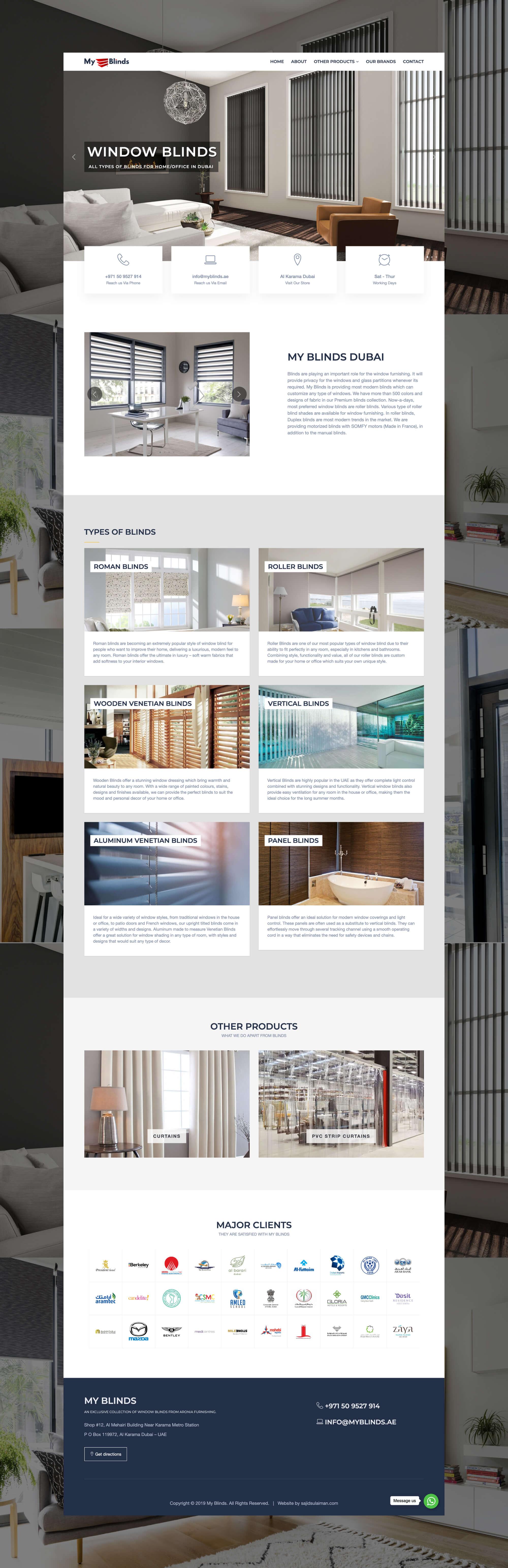 My Blinds Website by Freelance Web Designer Sajid Sulaiman