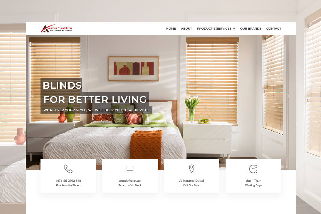 Aronia Furnishing website by Freelance web designer in dubai sajid sulaiman