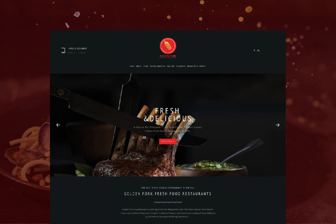 Golden Fork Restaurant website by Sajid Sulaiman Freelance Website Designer Dubai