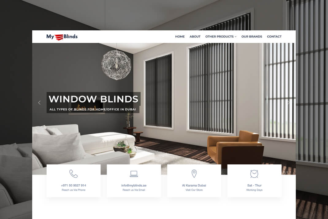 My Blinds Website by Freelance Web Designer Sajid Sulaiman