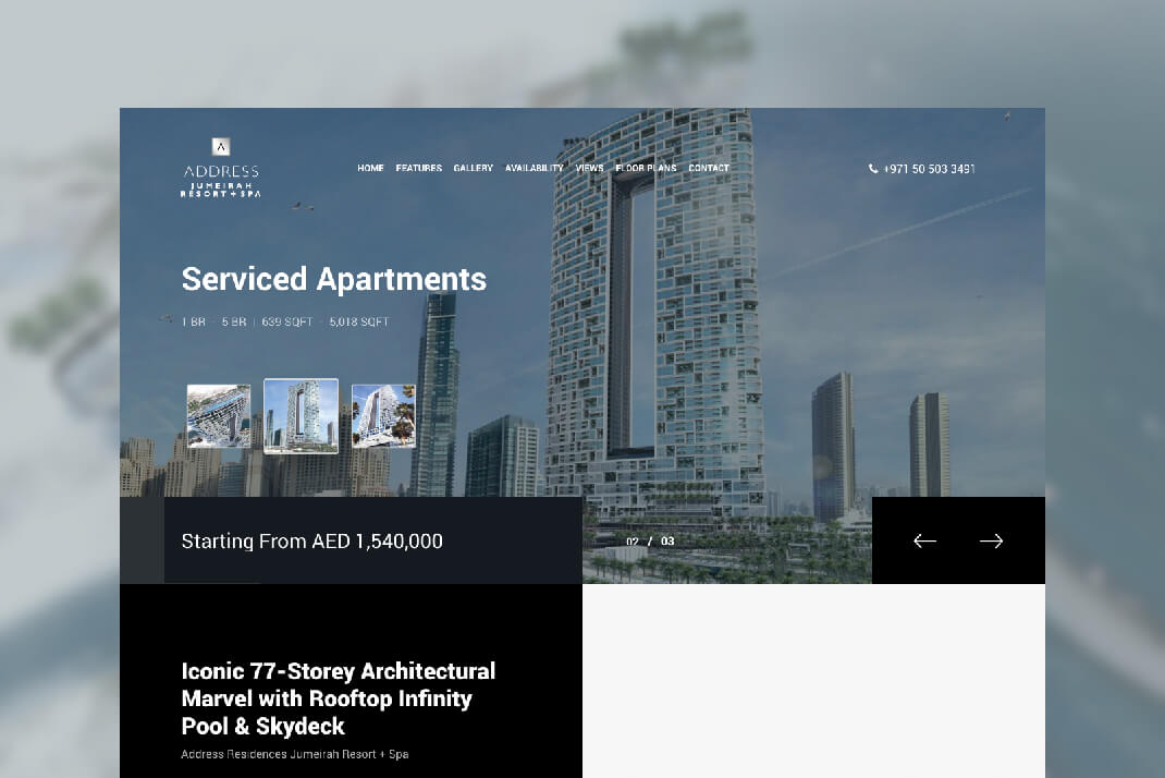 Address Jumeirah Website by Sajid Sulaiman Freelance Web Designer in Dubai