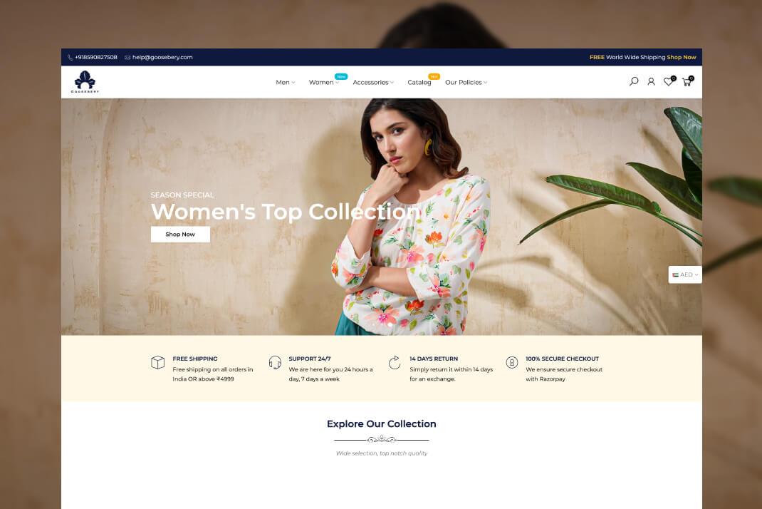 Goosebery website by freelance web designer Sajid Sulaiman