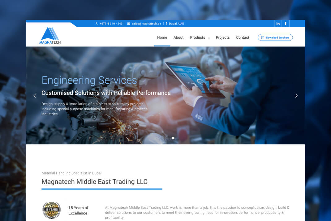 Magnatech Group website by freelance web designer Sajid Sulaiman
