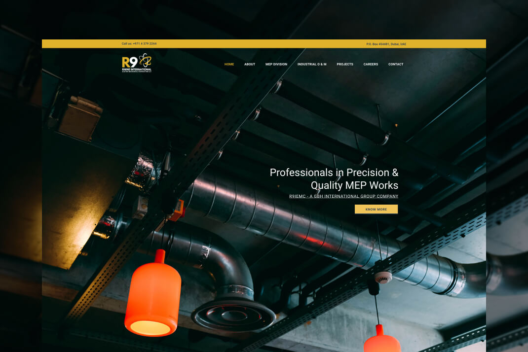 R9 International website by freelance web designer Sajid Sulaiman