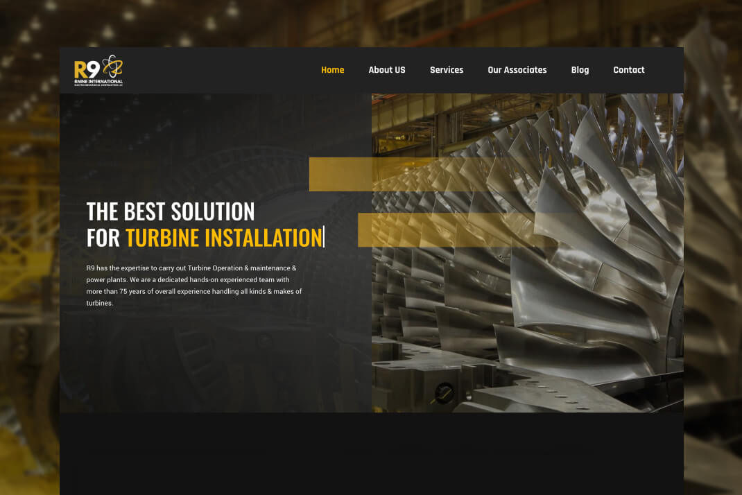 R9 Turbine website by freelance web designer Sajid Sulaiman