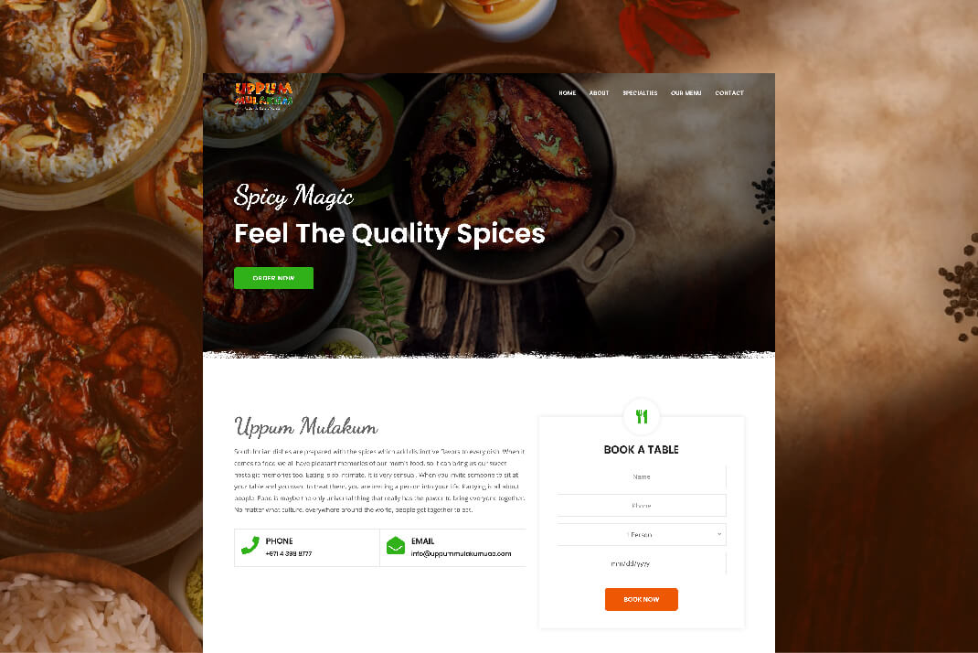 Uppum Mulakum Restaurant website by sajid sulaiman