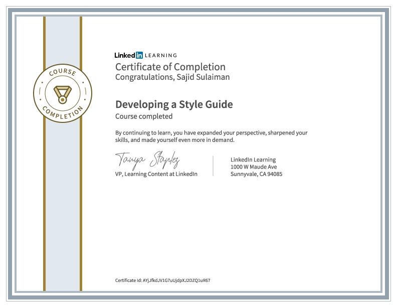 Branding Certificate of Sajid Sulaiman