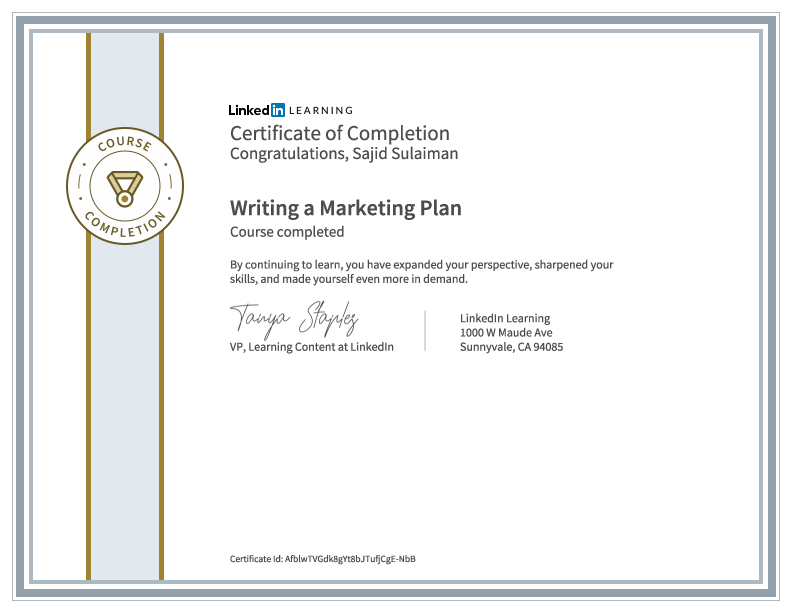 Creating Marketing Plan Certificate of Sajid Sulaiman
