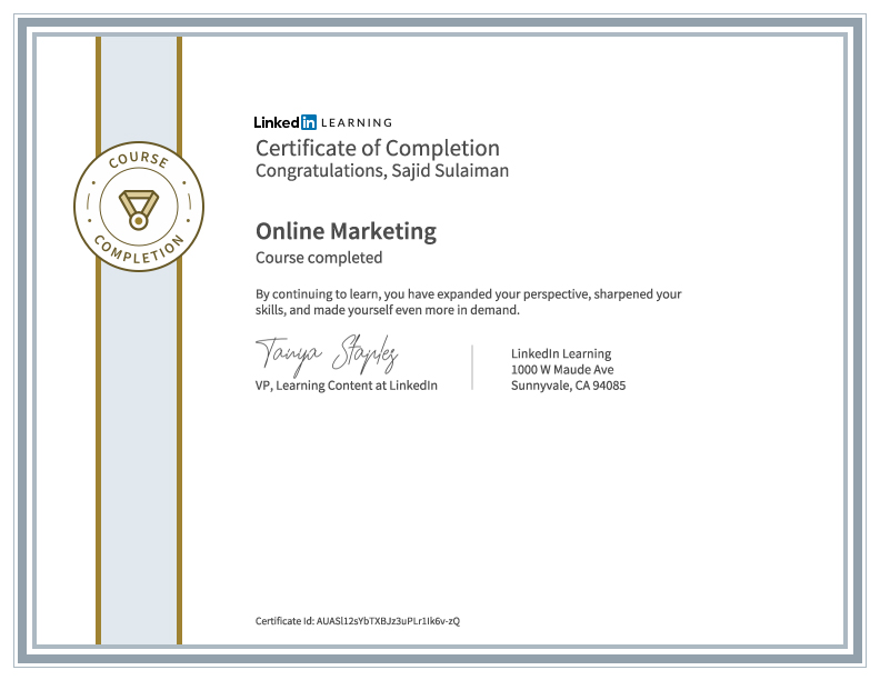 Online Marketing Certificate of Sajid Sulaiman